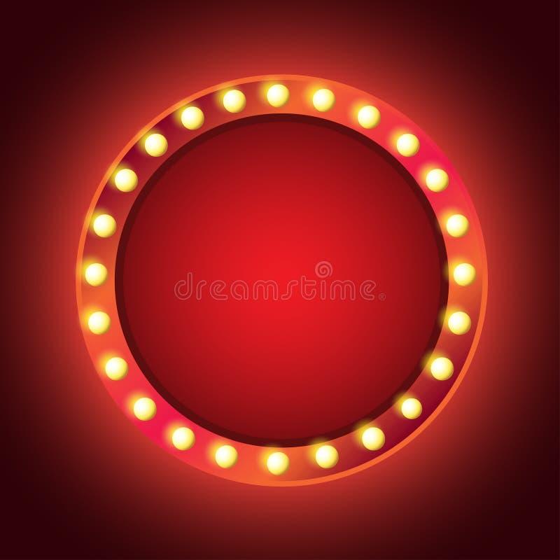 Marco redondo del resplandor de neón del vintage de las bombillas para el texto stock de ilustración