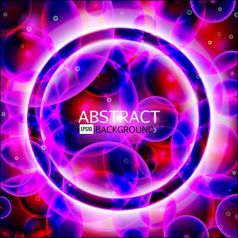 Marco redondo del vector Bandera brillante del círculo Espiral que brilla intensamente Ilustración del vector Colores rosados, pú ilustración del vector