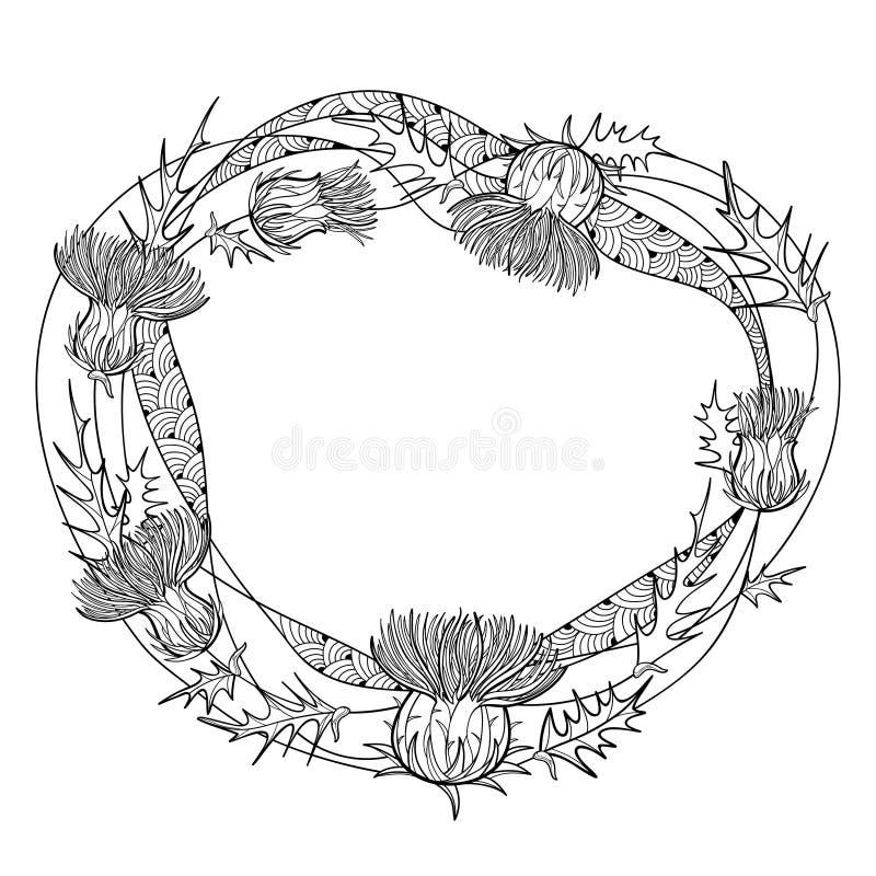 Marco redondo del vector de la planta del cardo o del Carduus del esquema, de la hoja espinosa, del brote y de la flor en negro a libre illustration