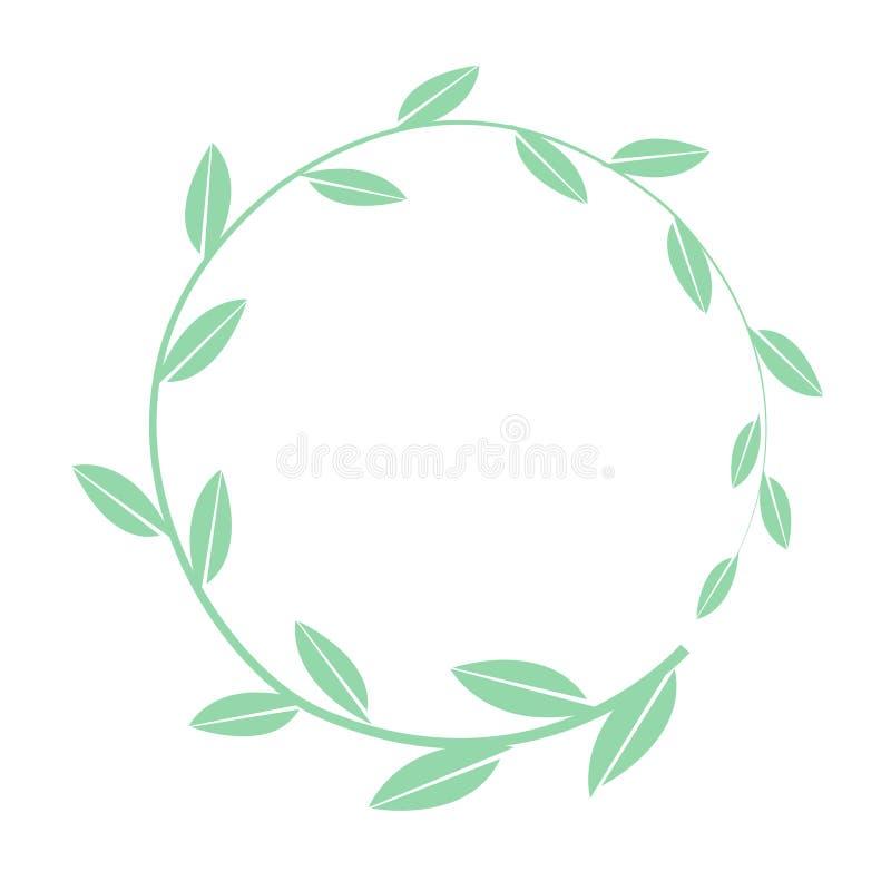 Marco redondo del vector exhausto de la mano Guirnalda floral con el banch simple de las hojas Elementos decorativos para el dise stock de ilustración