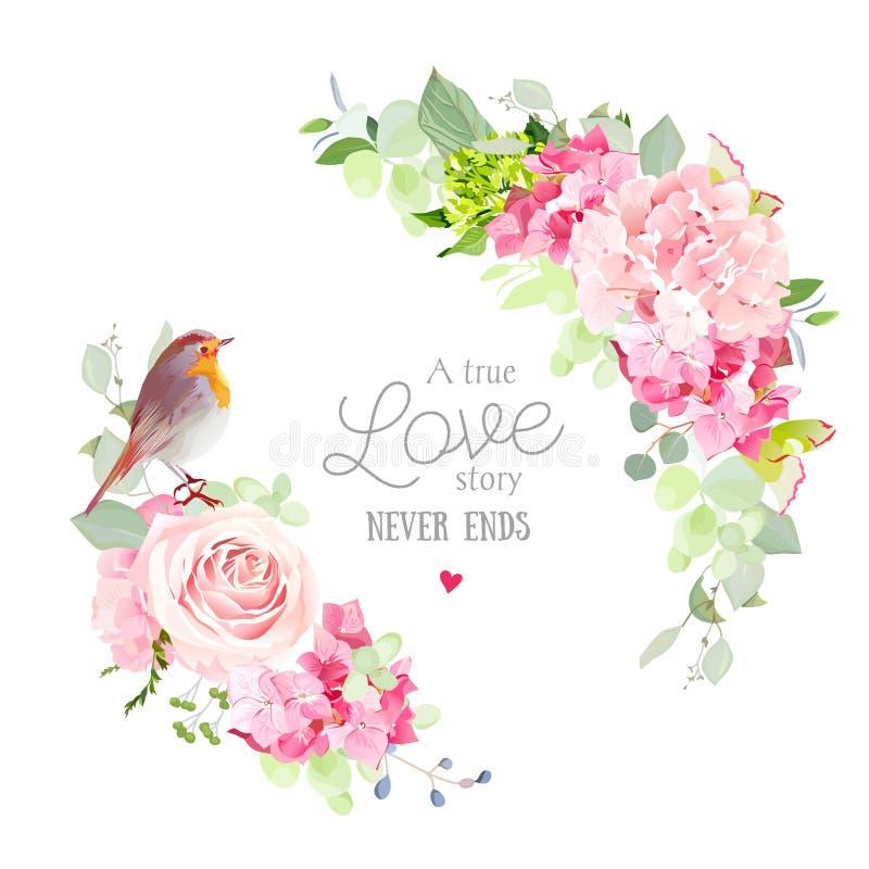 Marco redondo del vector floral con el pequeño pájaro lindo del petirrojo libre illustration