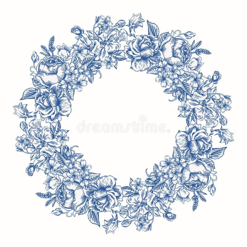 Marco redondo floral ilustración del vector