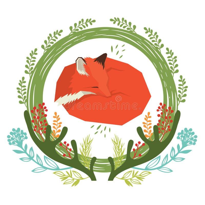 Marco redondo floral del bosque salvaje con el zorro rojo stock de ilustración