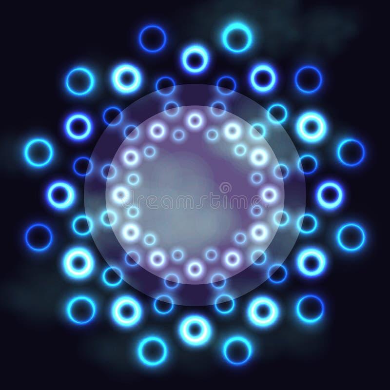 Marco redondo futurista oscuro con los anillos y el espacio cósmicos de neón azules del texto imagen de archivo