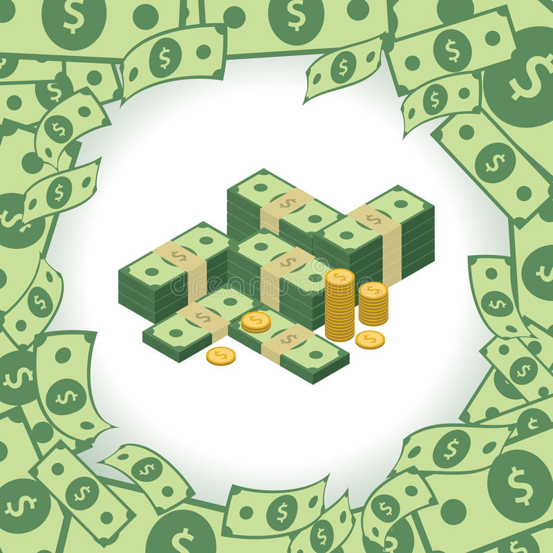 Marco redondo hecho de dólares Pila de dinero Elemento para su presentación del negocio stock de ilustración