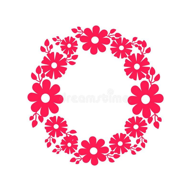 Marco redondo hecho de icono floreciente del vector de las flores libre illustration