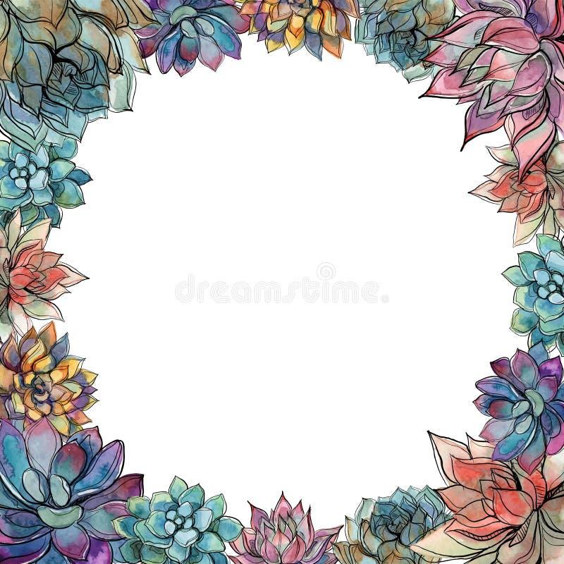 Marco redondo hecho de succulents Tarjeta del día de fiesta watercolor gráficos Vector ilustración del vector