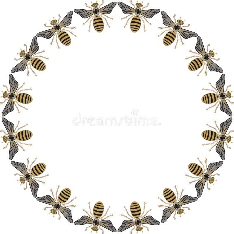 Marco redondo hermoso de las abejas del vuelo, de las libélulas, del oro brillante y de la impresión negra con los diamantes arti stock de ilustración