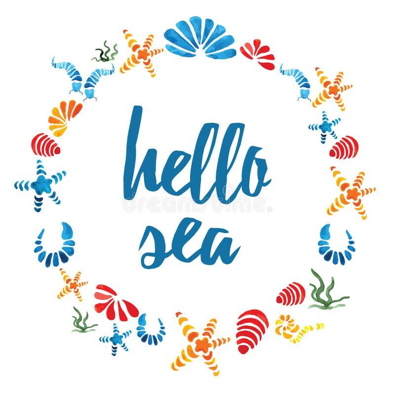 Marco redondo lindo con las cáscaras coloridas dibujadas mano del mar y mar del texto hola en blanco stock de ilustración