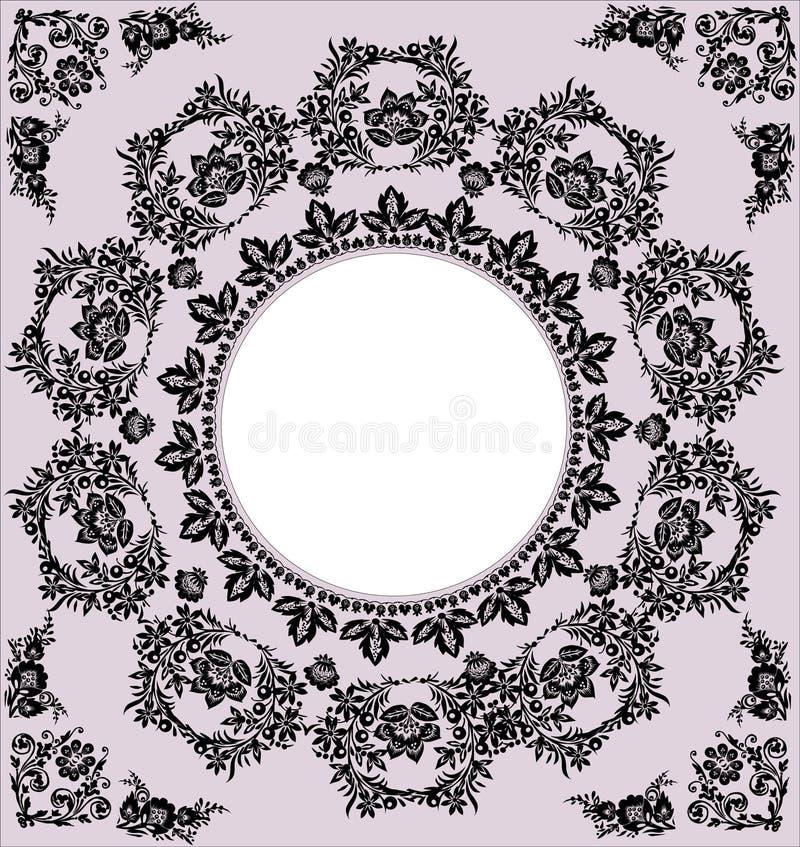 Marco redondo negro en color de rosa ilustración del vector
