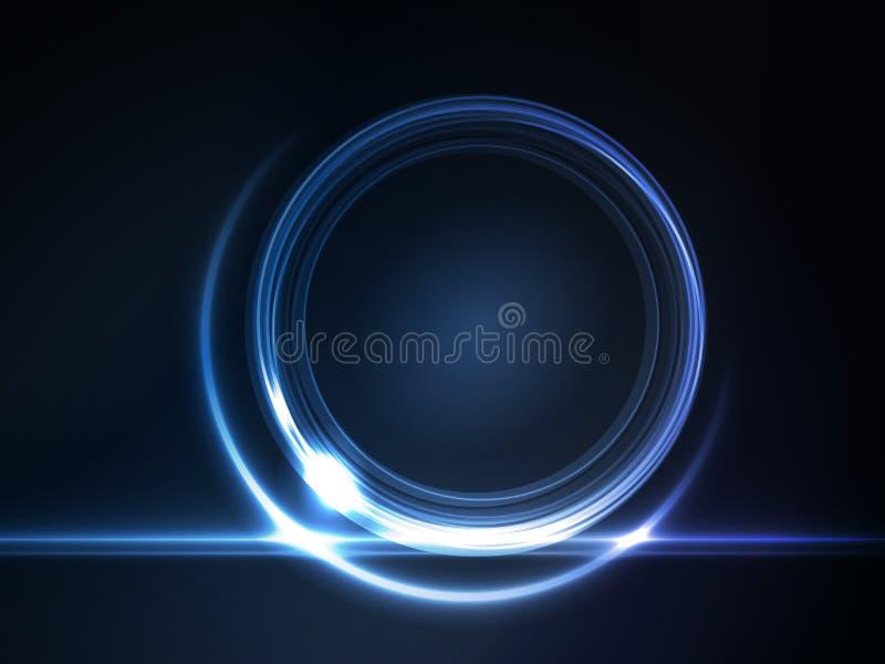 Marco redondo que brilla intensamente del azul para su texto libre illustration