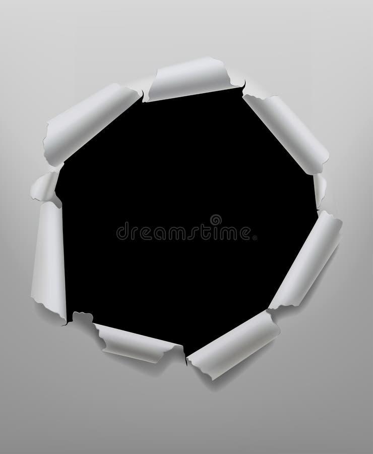 Marco redondo rasgado del agujero de papel en los colores blancos y negros libre illustration
