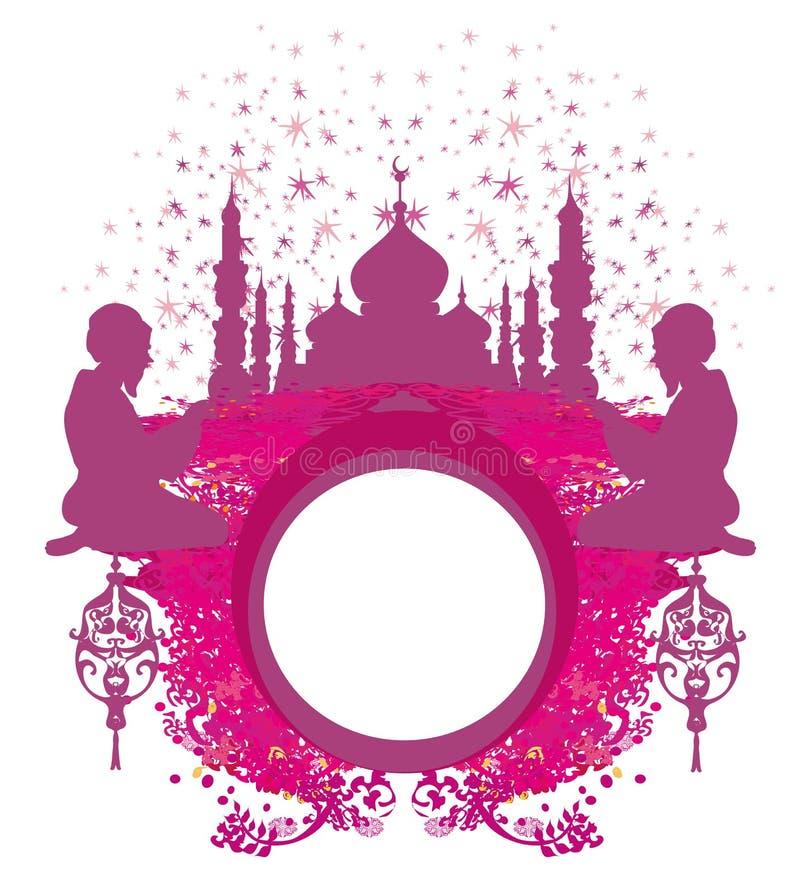Marco religioso abstracto - hombre musulmán que ruega ilustración del vector