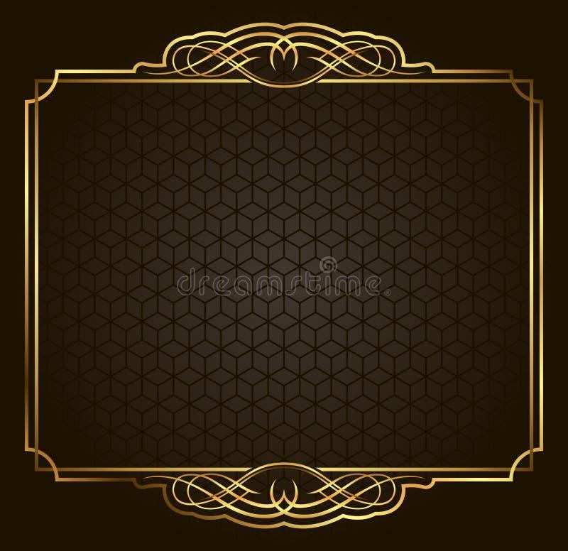 Marco retro caligráfico del oro del vector en fondo oscuro stock de ilustración