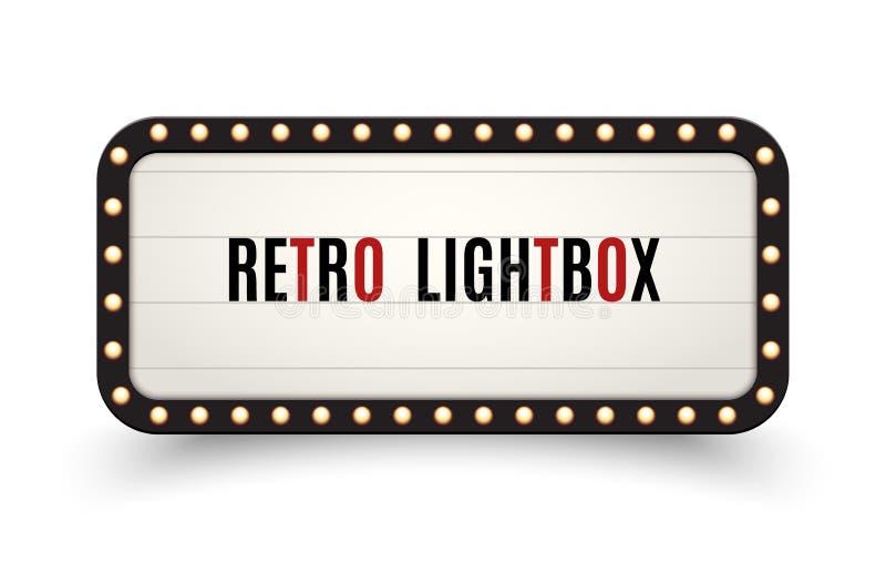Marco retro del vintage de la cartelera del lightbox Caja de luz de la bandera del vintage El cine o la decoraci?n del letrero de libre illustration
