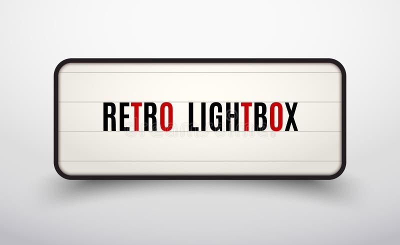 Marco retro del vintage de la cartelera del lightbox Caja de luz de la bandera del vintage El cine o la decoraci?n del letrero de stock de ilustración