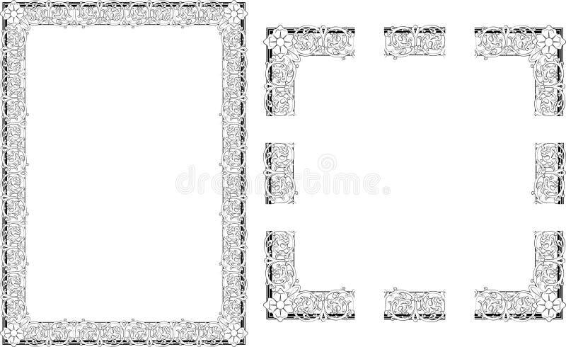 Marco rococó de la frontera del estilo ilustración del vector