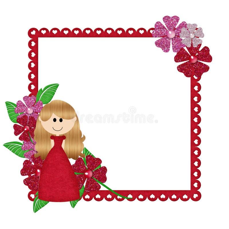 Marco rojo con la niña stock de ilustración. Ilustración de brillo ...