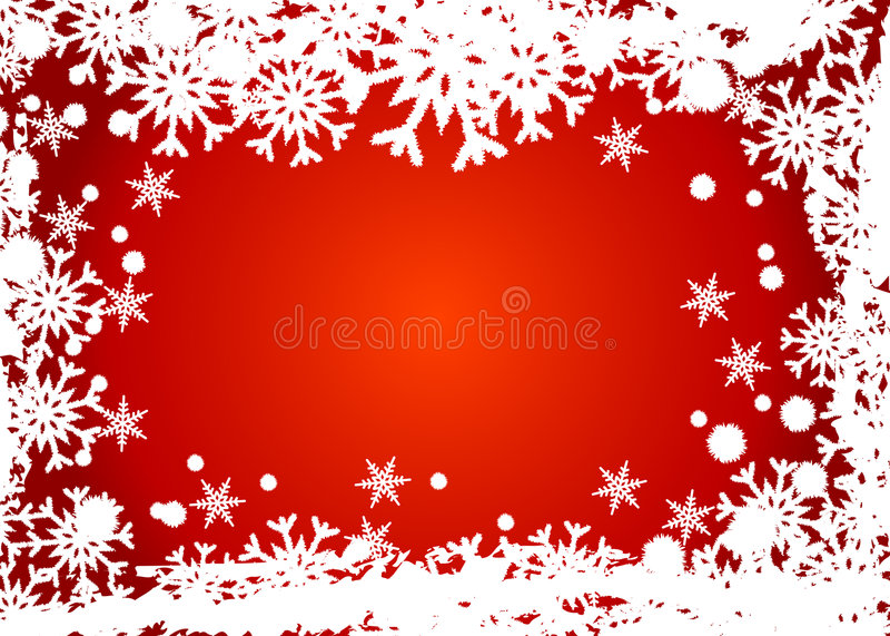 Marco rojo de los copos de nieve stock de ilustración