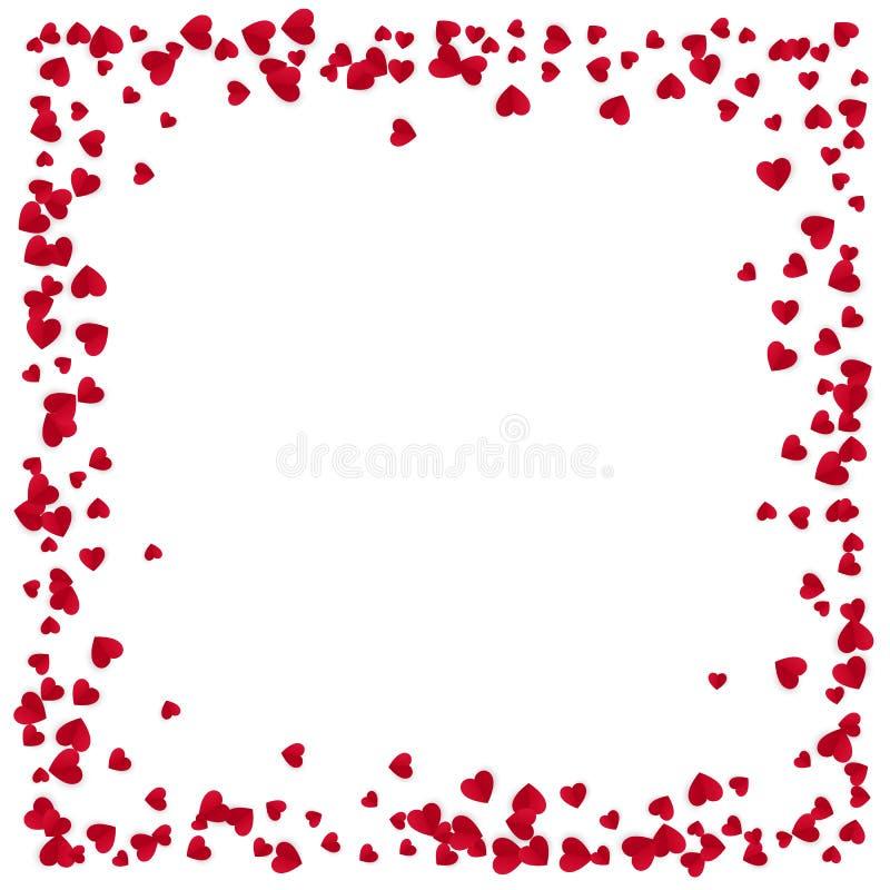 Marco rojo de los corazones con el lugar para el texto aislado en el fondo blanco Elemento del diseño de la tarjeta de felicitaci ilustración del vector