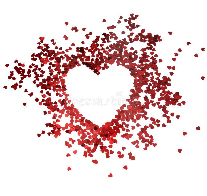 Marco rojo del brillo de los corazones con el fondo blanco, tarjeta del día de San Valentín, amor, boda, concepto de la boda fotografía de archivo libre de regalías