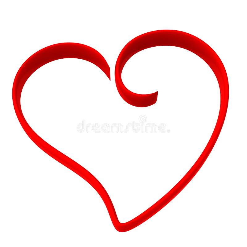 Marco rojo del corazón, 3d ilustración del vector
