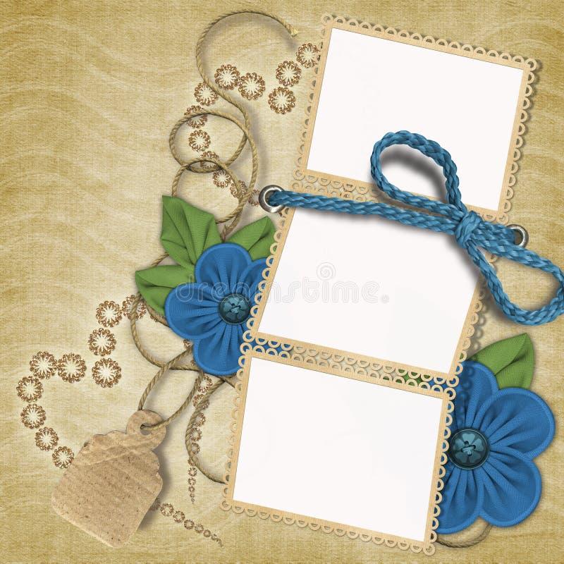 Marco romántico con las flores stock de ilustración