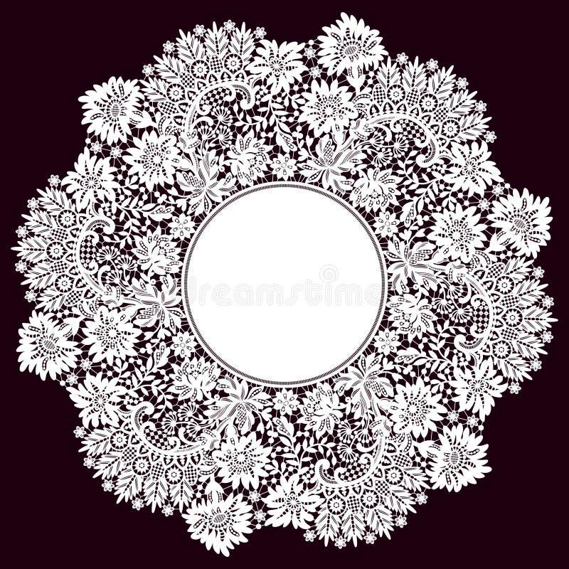Marco romántico del círculo del cordón stock de ilustración