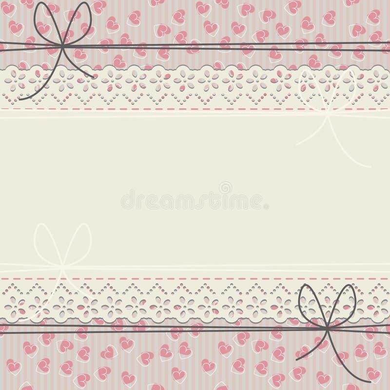 Marco romántico del cordón con los corazones y los arcos lindos stock de ilustración