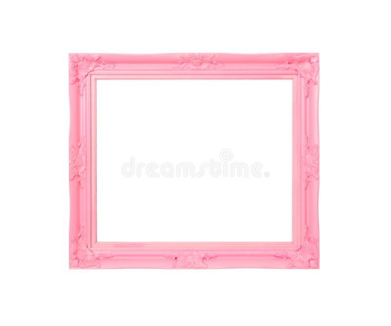Marco rosado de la vendimia en fondo de madera azul imagen de archivo