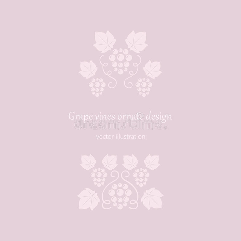 Marco rosado de las vides de uva stock de ilustración
