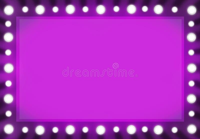 Marco rosado fucsia del fondo del espejo de la luz de las bambalinas ilustración del vector