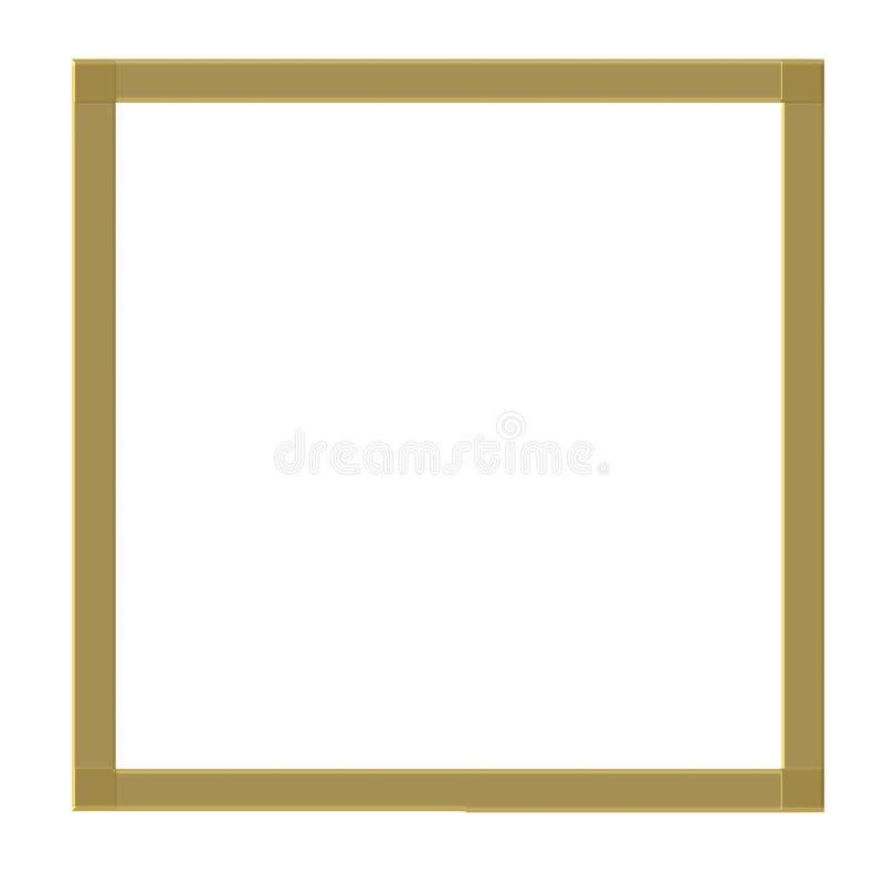Marco simple del oro aislado en el fondo blanco Forma cuadrada libre illustration