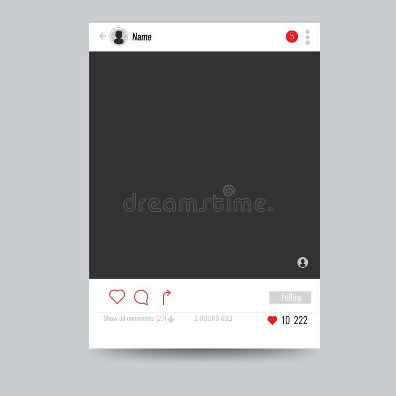 Marco social vacío de la foto de la red a utilizar en su diseño ilustración del vector
