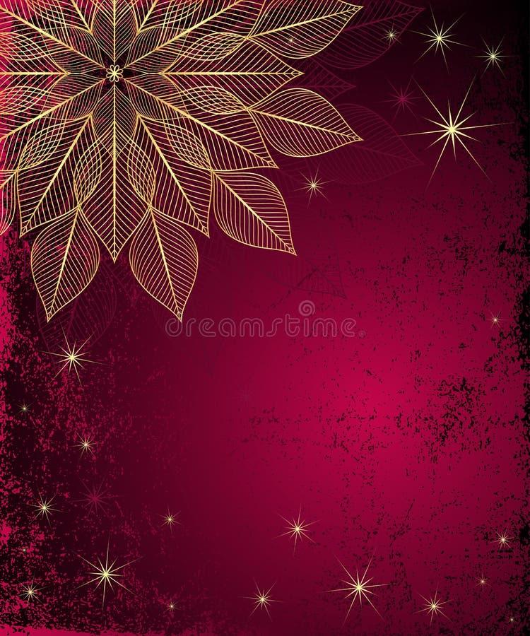 Marco sucio rojo oscuro de la Navidad ilustración del vector