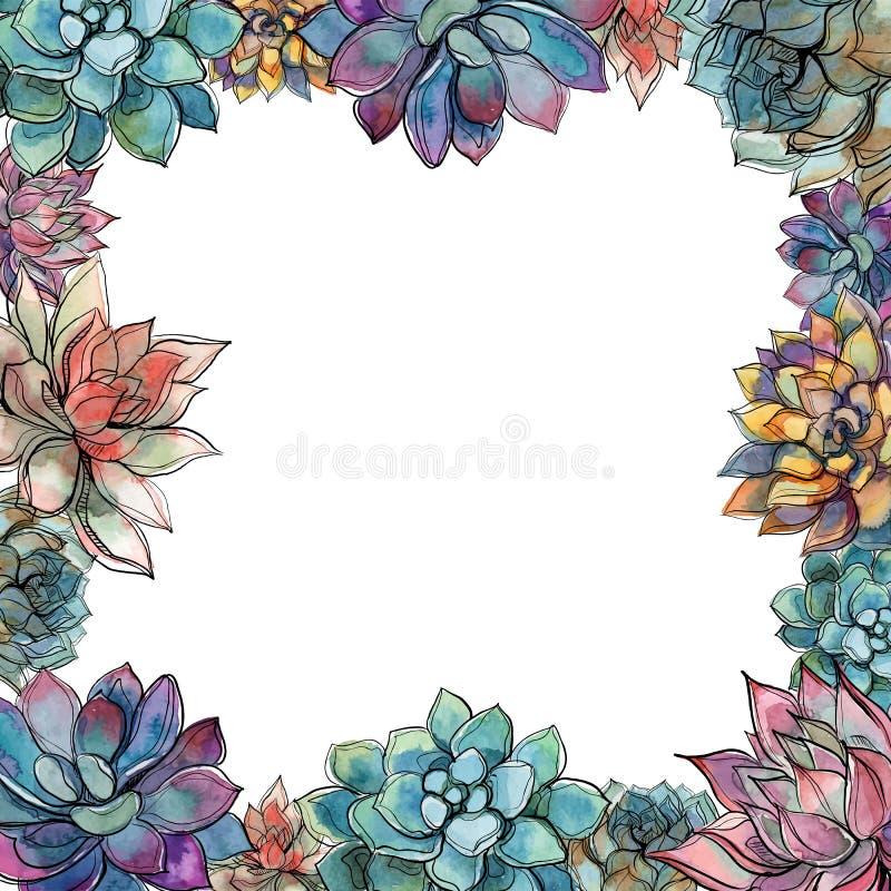 Marco suculento Composición de flores Postal para su texto Vector libre illustration
