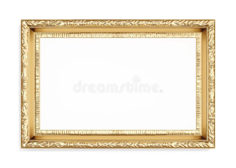 Marco tallado oro aislado en el fondo blanco 3d rinden libre illustration