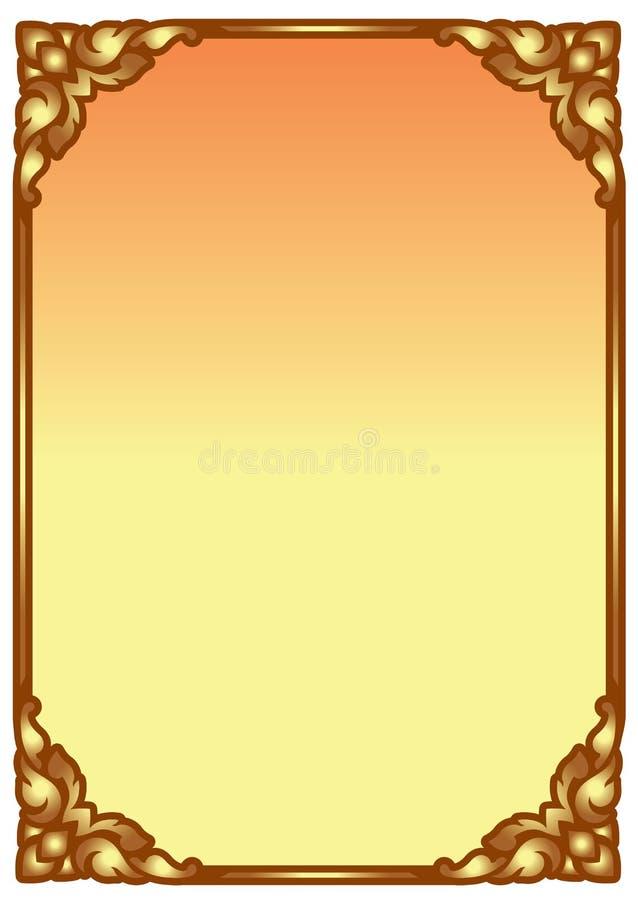 Marco tradicional de la frontera del vintage del color oro para saludar, invitaci?n, impresi?n, contexto stock de ilustración