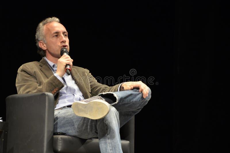 Marco Travaglio, beroemde Italiaanse journalist royalty-vrije stock afbeeldingen