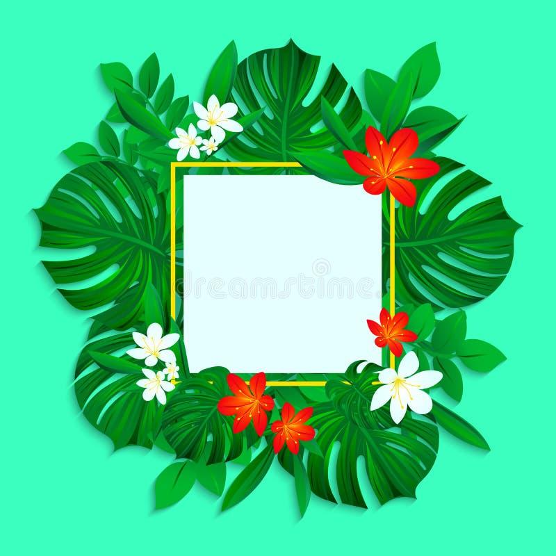 Marco tropical con las hojas de la selva, monstera y las flores coloridas Diseño de la frontera del vector Ilustración Fondo trop libre illustration