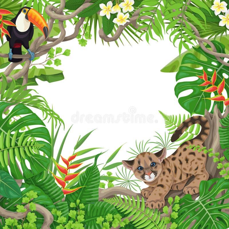 Marco tropical con las plantas y los animales ilustración del vector