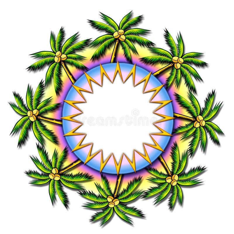 Marco tropical redondo de la palmera ilustración del vector