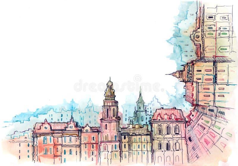 Marco urbano de la ciudad stock de ilustración