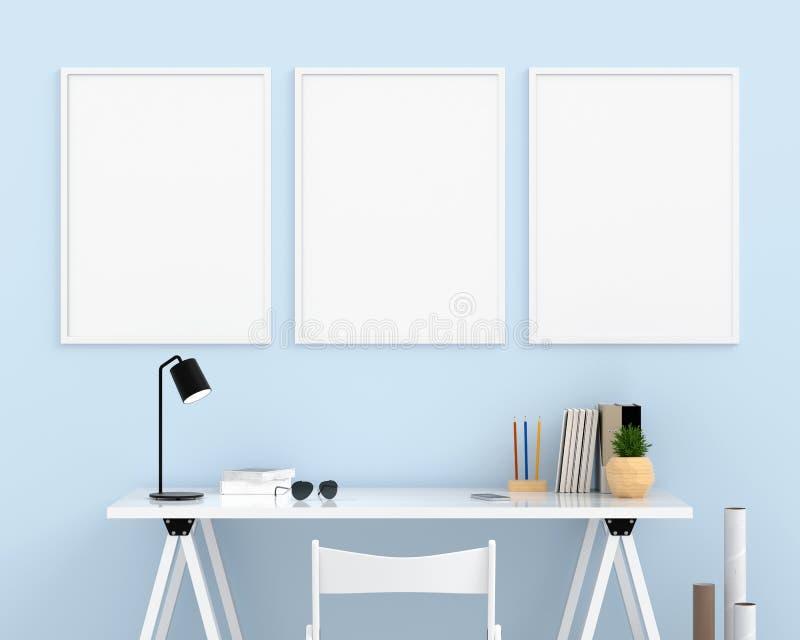 Marco vacío de la foto tres para la maqueta en la pared azul clara, representación 3D ilustración del vector