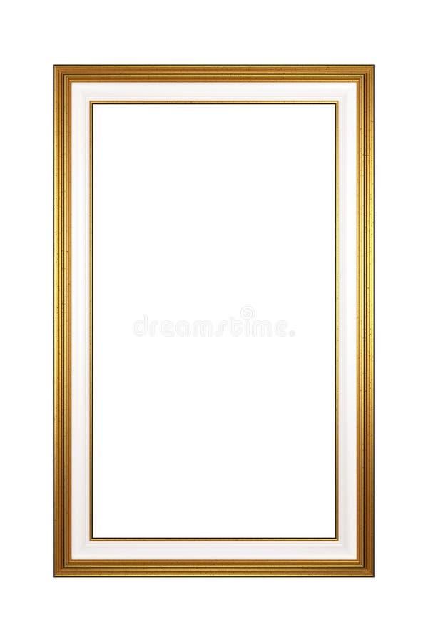 Marco vacío del retrato de oro aislado stock de ilustración
