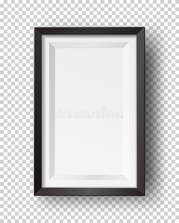 Marco vac?o cuadrado realista del vector La plantilla de la maqueta con el hu?sped negro del marco aisl? ilustración del vector