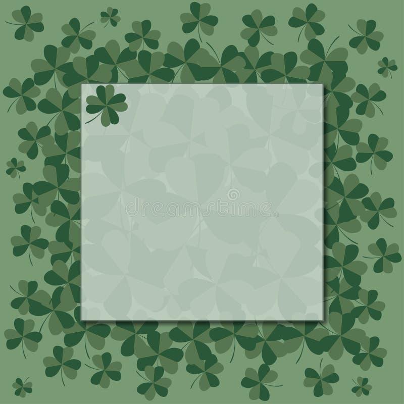 Marco verde con el trébol Día del ` s de StPatrick Vector ilustración del vector