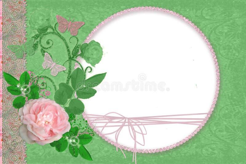 Marco verde con las rosas imágenes de archivo libres de regalías