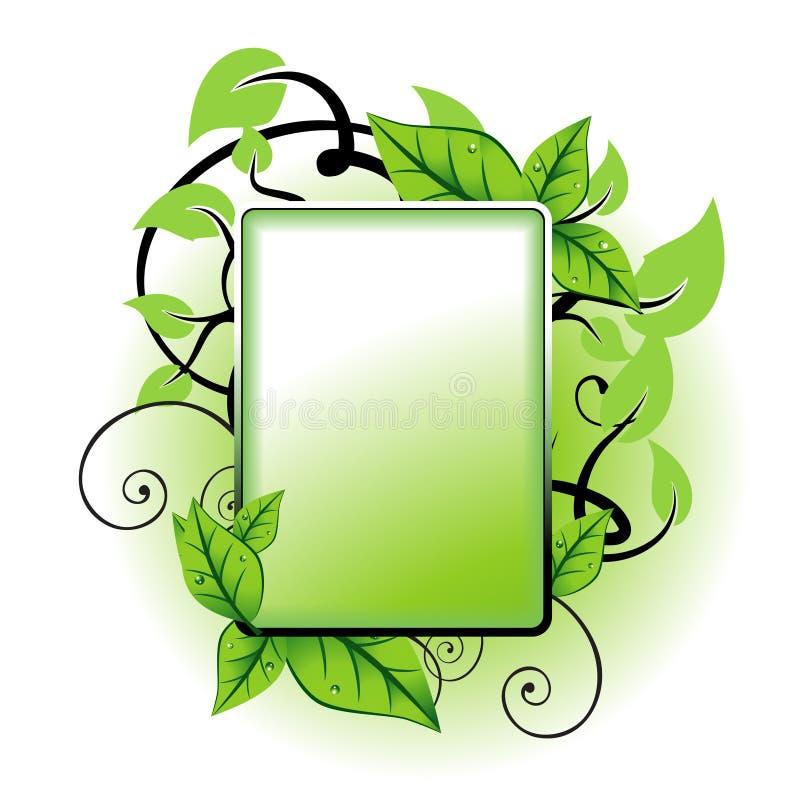 Marco verde de la hoja stock de ilustración