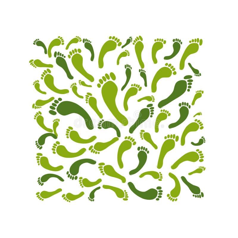 Marco verde de la huella para su diseño ilustración del vector